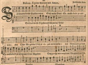 """1640 in Königsberg gedruckte Partitur der italienieschen Arie """"Felices si quos..."""""""