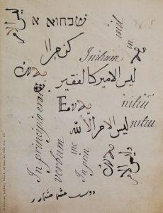 Kalligraphieübungen Salomon Negris auf Latein, Arabisch, Persisch, und in Hebräischer Schrift