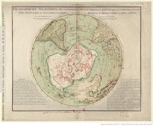 Karte der südlichen Hemisphäre von Philippe Buache, 1770.